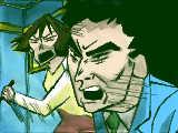 [2009-06-22 19:41:47] 電撃!ブタのヒヅメ大作戦より、トイレに行こうとする筋肉を止めるひろしとみさえ。   「させるかァー!!!」