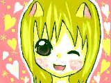 """[2009-08-07 17:06:01] ヒカルたんのお祭りに参加です♪""""下手でごめんね><これはネコとうさぎをまぜたよ!!目の赤さとか口とかが、うさぎかな??最高な祭りなのにこんなので参加してごめんね!!!!"""