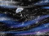 ひかりの銀河を渡る 海の青を混ぜた銀の傘