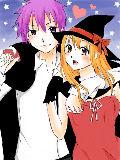紫・オレンジミリペンを使おうと。魔女&吸血鬼カップル!! このカップルマンガかけそうだー