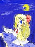 少女と月【マウス画】