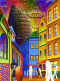 極採色の町
