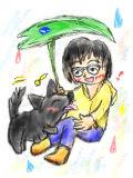 雨と飼い主と愛犬と
